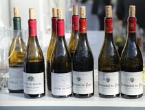 French wines on display at Vinexpo New York in Javits Convention Center stock images