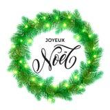 French Winter decoration ornament spanish Christmas lights Joyeux Noel Royalty Free Stock Images
