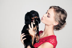 French Woman with Dog Stock Image