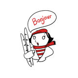French woman holding baguettes illustration. French woman holding baguettes saying bonjour illustration Stock Photography