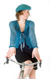 French woman riding bicycle Royalty Free Stock Photography