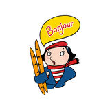 French woman saying bonjour illustration. Woman holding baguettes drawing Royalty Free Stock Photo