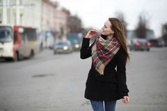 French woman for a walk in early spring Stock Photography