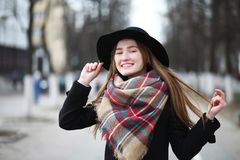 French woman for a walk in early spring Stock Photos