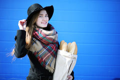 French woman for a walk in grocery stores. Outdoorr Stock Photo