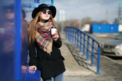 French woman for a walk in grocery stores. Outdoorr Stock Photography