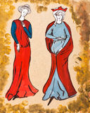 French women of the 14th century Stock Photo
