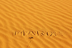 French word Maroc written on the sand Stock Image
