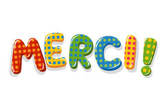French word Merci colorful lettering vector illustration