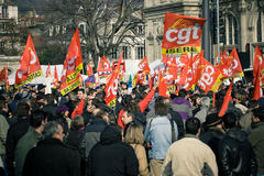 French Workers Strike. Over job cutting and overall increase of unemployment. Date: 29 Jan 2009. Location: Grenoble, France Royalty Free Stock Image