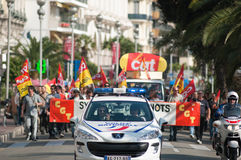 French workers strike against pension reform Stock Image