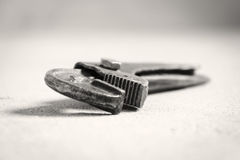 French wrench. Old Wrench on the floor Stock Photography