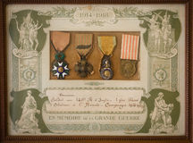 French WW 1 medals. French world war 1 medals in original frame Royalty Free Stock Photos