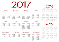 French 2017 year vector calendar. French 2017  year vector calendar calendrier francais Royalty Free Stock Photo