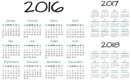 French 2016 2017 and 2018 year vector calendar. Turquoise French 2016 2017 and 2018 year vector calendar Royalty Free Stock Photos