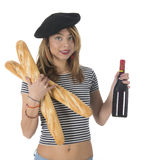 French young girl with bread and wine Royalty Free Stock Photos