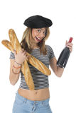 French young girl with bread and wine Royalty Free Stock Images