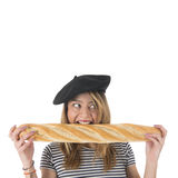French young girl with typical bread Stock Photography