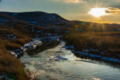 Frenchman River Ice Buildup Stock Images