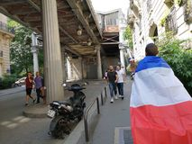 Frenchs going to watch the match to the eiffel tower. Frenchs going to watch the final match agains Croatie to the eiffel tower stock images