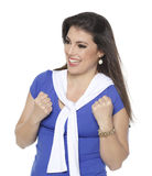 Frenchwoman fan. Blue and white woman root for your favorite team Stock Photo