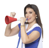 Frenchwoman fan. Blue and white woman root for your favorite team Royalty Free Stock Image