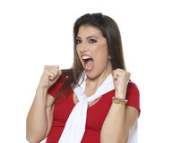 Frenchwoman fan. Woman in red and white root for your favorite team Stock Photography