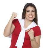Frenchwoman fan. Woman in red and white root for your favorite team Stock Photo