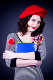 Frenchwoman with notebook Royalty Free Stock Images