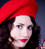 Frenchwoman in red beret Stock Image