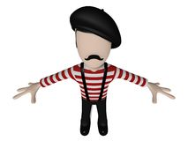 Frenchy 3D Cartoon character Royalty Free Stock Photos