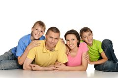 Frendly family on the floor Stock Photo