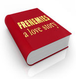 Frenemies A Love Story Book Cover Friends Become Enemies. The title Frenemies A Love Story on a red 3d book cover illustrating a story between friends who have Royalty Free Stock Image