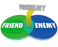 Frenemy Venn Digram Friend Becomes Enemy Images libres de droits