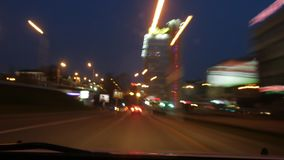 A frenetic blast through the streets of night city. time lapse in hyper lapse stock footage