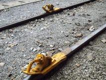 Freno di mano sulla ferrovia Fotografie Stock
