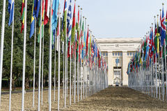 Förenta Nationerna i Genève Fotografering för Bildbyråer
