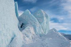 Frente azul de los E.E.U.U. de las torres del hielo del glaciar del flujo glacial Fotos de archivo libres de regalías