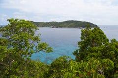 Frente azul del mar y del árbol Imágenes de archivo libres de regalías