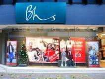 Frente casero británico de la tienda de las tiendas de BHS foto de archivo libre de regalías