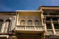 Frente de la casa chinoportuguesa vieja del estilo Foto de archivo