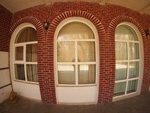 Frente de la casa con la opinión granangular del fisheye Fotografía de archivo libre de regalías