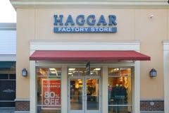 Frente de la tienda de la fábrica de Haggar fotos de archivo libres de regalías