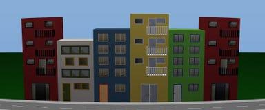 Frente de las casas con las casas coloridas Panorama Imagen de archivo libre de regalías