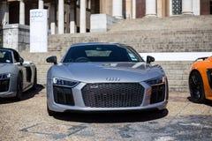 Frente de plata de Audi R8 imágenes de archivo libres de regalías