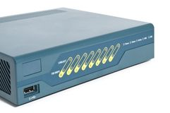 Frente de un cortafuego de Ethernet Fotos de archivo libres de regalías