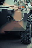 Frente de un vehículo militar Imágenes de archivo libres de regalías