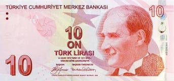Frente del billete de banco de 10 liras foto de archivo libre de regalías