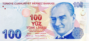 Frente del billete de banco de 100 liras Imagen de archivo