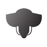 Frente del elefante stylized como insignia stock de ilustración